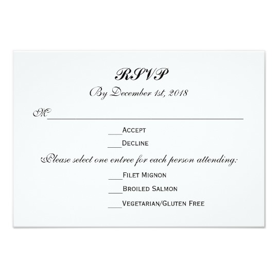 Wedding Reception RSVP Reply Cards