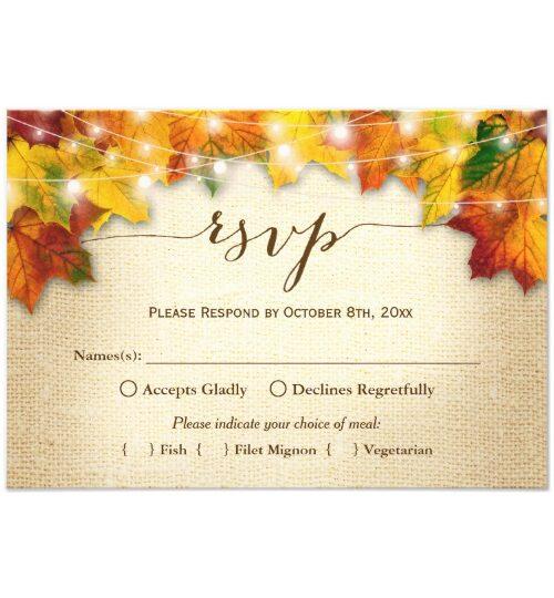 Fall Leaves String Lights Burlap Invitation Suite