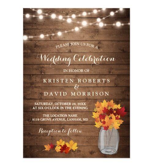 Invitation Suite: Rustic Autumn Leaves Mason Jar