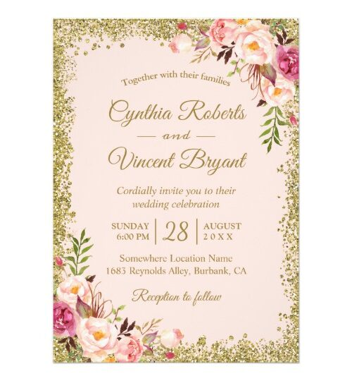 Blush Pink Gold Glitters Floral Invitation Suite