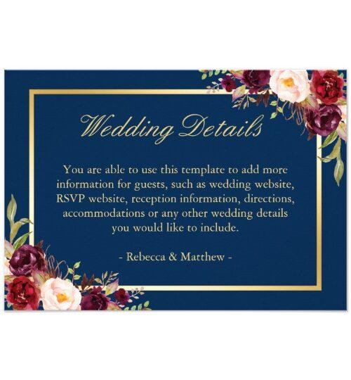 Invitation Suite: Burgundy Red Floral Navy Blue