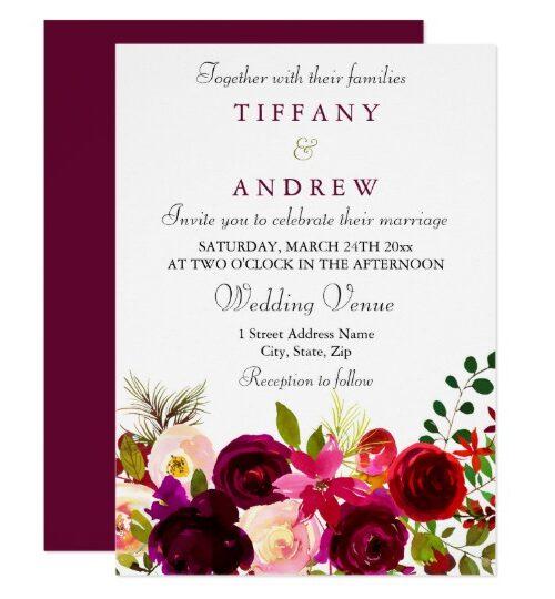 Burgundy Red Purple Floral Boho Wedding