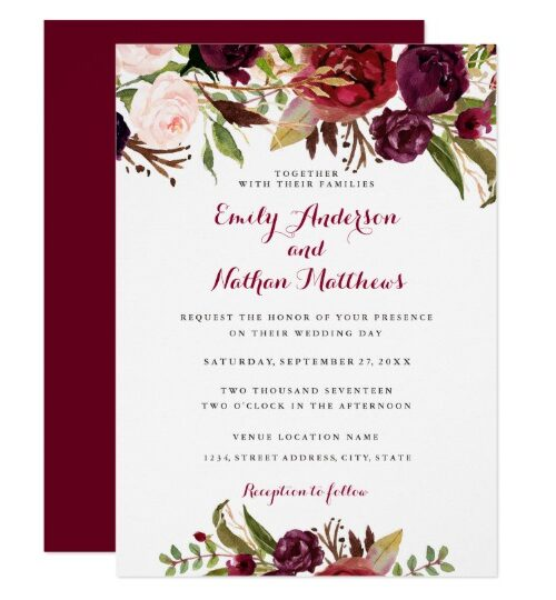 Burgundy Red Floral Wedding