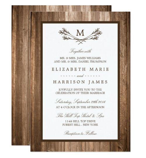 Country Rustic Monogram Branch On Wood Wedding