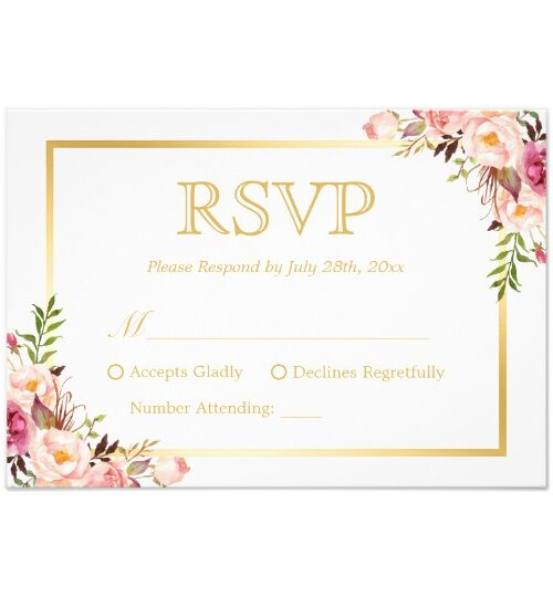 Invitation Suite: Chic White Floral and Gold Frame