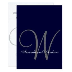 Elegant Navy Blue Simple Wedding Invitations