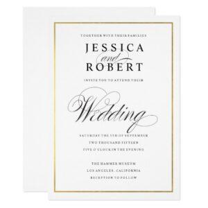 Elegant Wedding Script - Faux Gold Foil Border