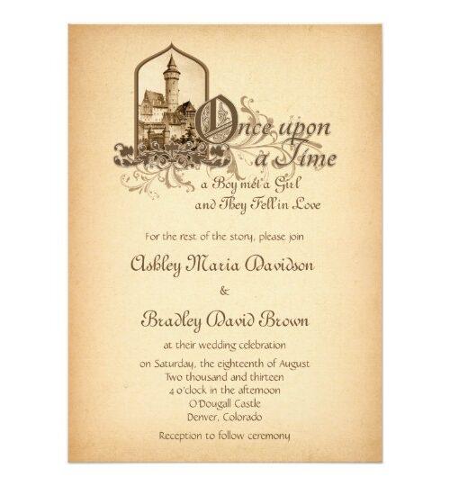 Fairy Tale Medieval Vintage Wedding Invitation Set