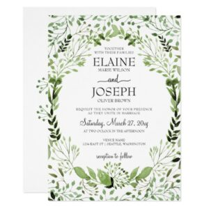 Glam Greenery Wedding  Invitation Suite
