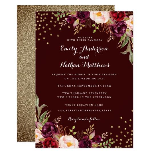 Gold Confetti Burgundy Floral Wedding