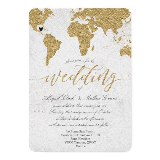 Gold Foil World Map Custom Destination Wedding