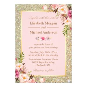 Invitation Suite: Gold Glitters Blush Pink Floral