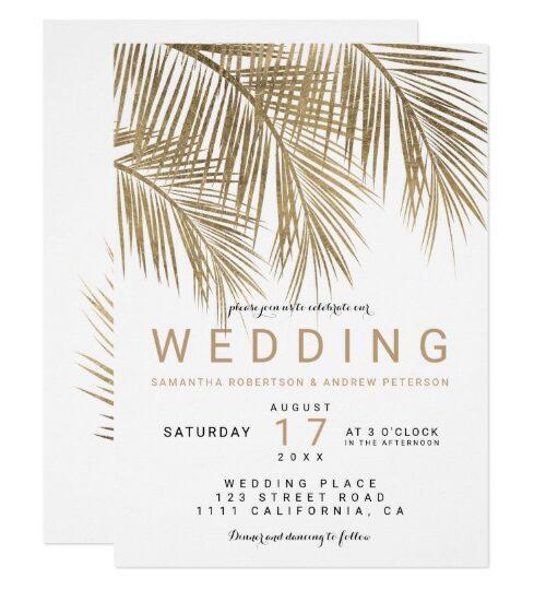 Modern faux gold palm tree elegant simple wedding