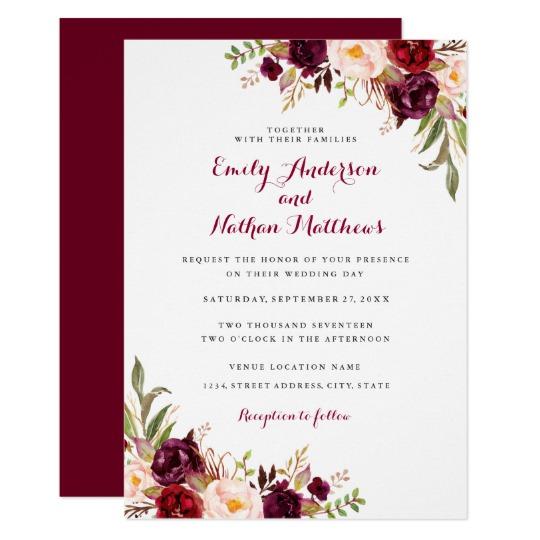 Burgundy Red Floral Wedding