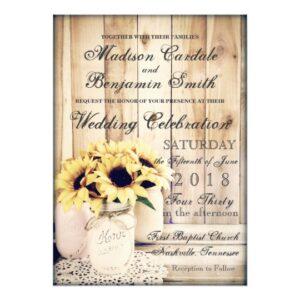 Sunflowers in Mason Jars Wedding Invitation Set