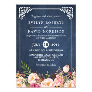 Invitation Suite: Rustic Floral Blue Chalkboard
