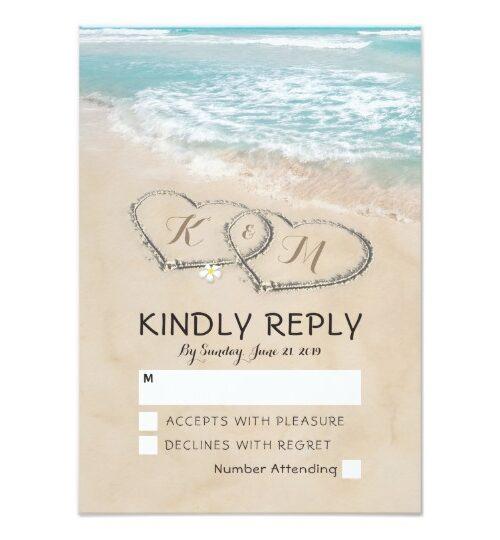 Tropical Vintage Beach Heart Invitation Suite