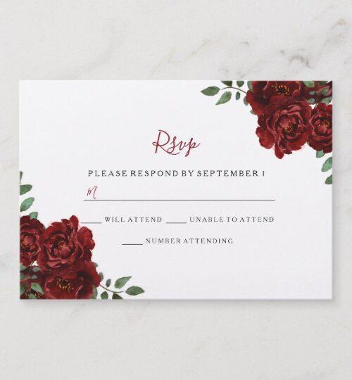 Romantic burgundy rose quinceanera party invite