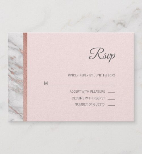 Elegant Pink & Grey ROSE GOLD FOIL MARBLE Wedding