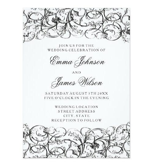 Elegant black and white swirls wedding collection