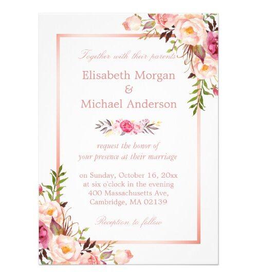 Invitation Suite: Elegant Chic Rose Gold Floral