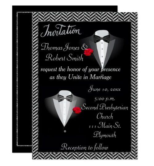 Gay Tuxedo Wedding Invitation