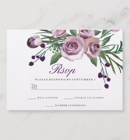 Elegant Plum Purple Rose 90th Birthday Collection