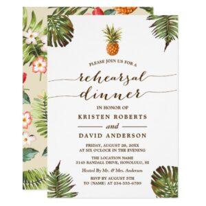 Tropical Leaves Pineapple Luau Invitation Suite