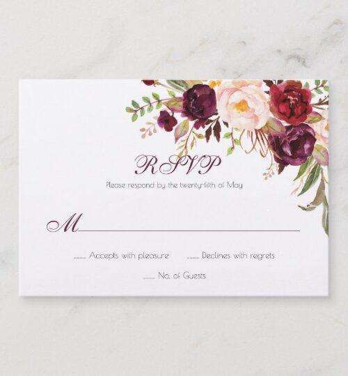 Marsala, Burgundy, Red, White Roses Boho Feathers