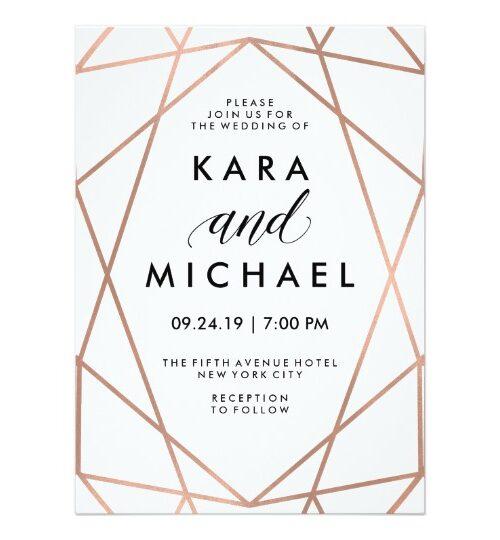 Minimalist Modern Diamond Shaped Wedding