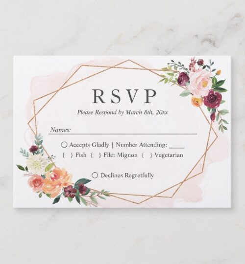 Modern Geometric Bloom Floral Invitations Suite