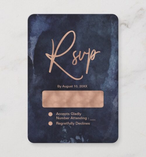 Navy Blue Watercolor with Rose Gold - Wedding