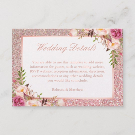 Rose Gold Glitters Pink Floral Invitation Suite