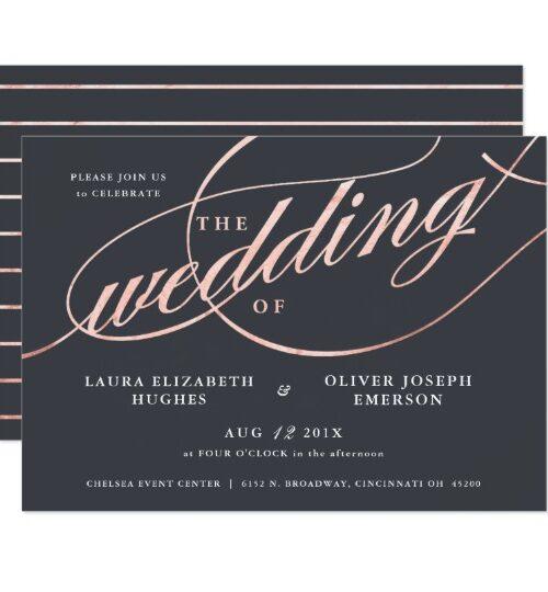 Rose Gold Script Wedding Set