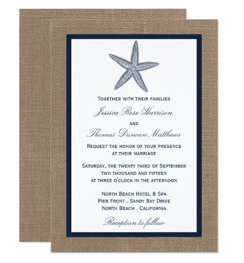 Navy Starfish On Burlap Beach Wedding Collection