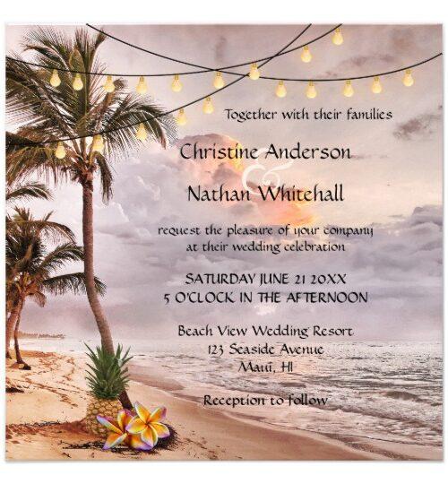 String Lights Beach or Destination Wedding