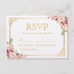 Invitation Suite: Vintage Gold Frame Floral Decor