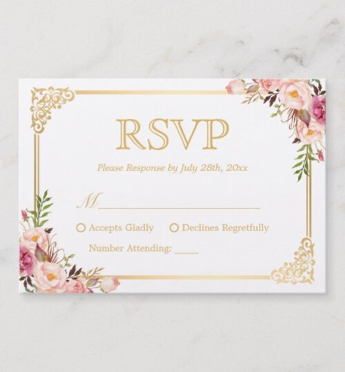 Invitation Suite: Vintage Gold Frame Floral Decor