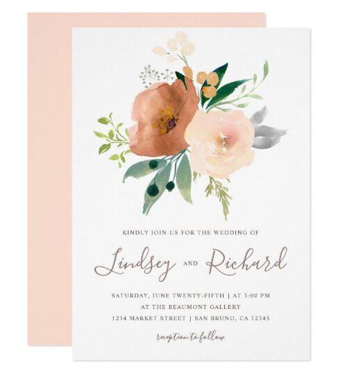 Watercolor Rose Flowers Bouquet Wedding