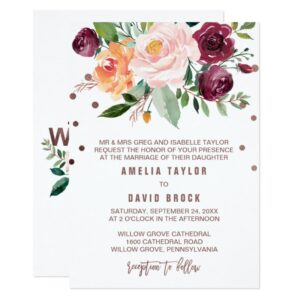 Autumn Floral Rose Gold Wedding Collection