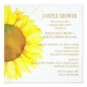 Watercolor Sunflower Wedding