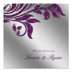 Leaf Glitter Floral & Smokey Silver Wedding