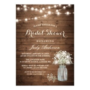 Invitation Suite: Rustic Baby's Breath Mason Jar