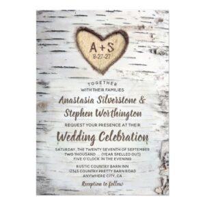Carved Birch Tree Bark Wedding Invite Collection
