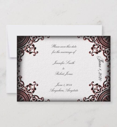 Black and Red Gothic Scroll Wedding