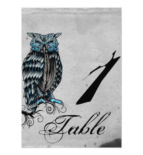 Blue Gothic Owl Posh Wedding