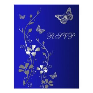 Blue and Silver Butterflies & Flowers Wedding Set