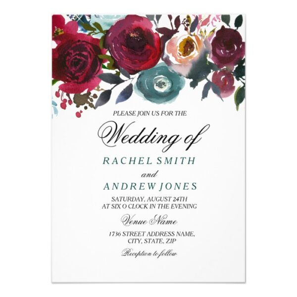 Boho Bordo Burgundy Red Flowers Wedding Invitation