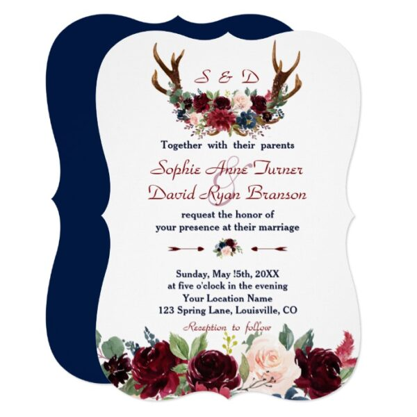 Merlot Navy Blue Floral Antlers Collection