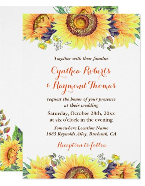 Bright Sunflowers Rustic Wedding Invitation Suite
